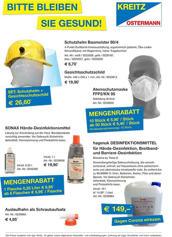 Desinfektionsmittel und Atemschutzmasken